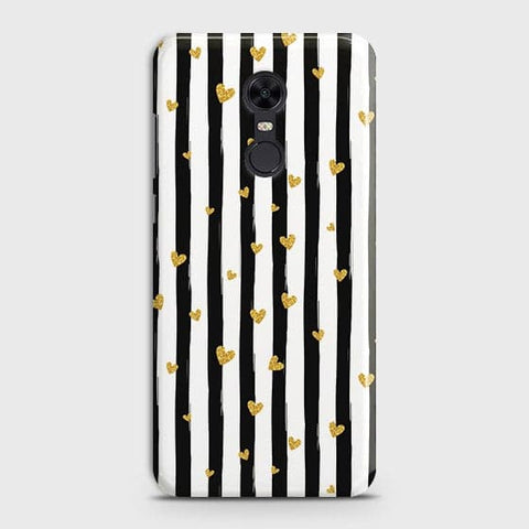Trendy Black & White Strips With Golden Hearts Hard Case For Xiaomi Redmi 5
