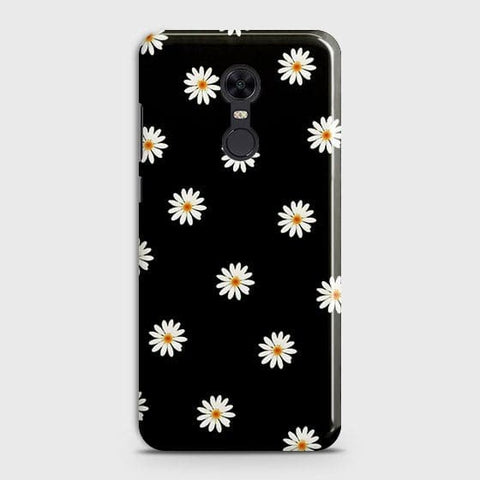 White Bloom Flowers with Black Background Case For Xiaomi Redmi 5