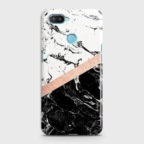 3D Black & White Marble With Chic RoseGold Strip Case For Xiaomi Mi 8 Lite