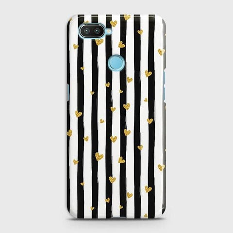 Trendy Black & White Strips With Golden Hearts Hard Case For Xiaomi Mi 8 Lite