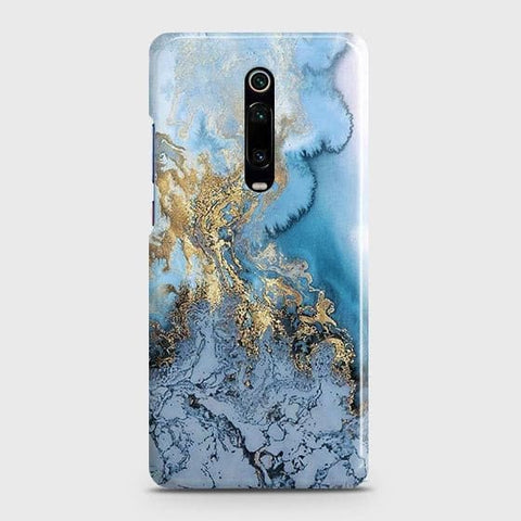 3D Trendy Golden & Blue Ocean Marble Case For Xiaomi Mi 9T Pro