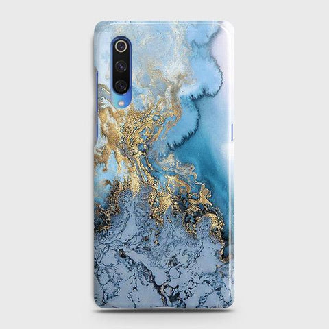 3D Trendy Golden & Blue Ocean Marble Case For Xiaomi Mi 9