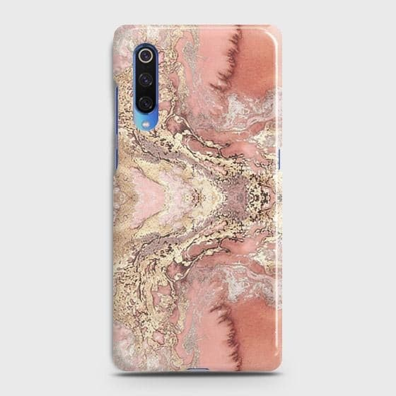 Xiaomi Mi 9 Cover - Trendy Chic Rose Gold Marble Printed Hard Case with Life Time Colors Guarantee