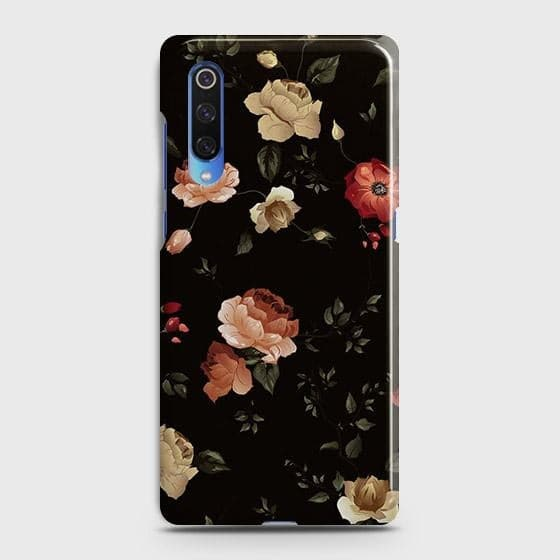 Xiaomi Mi 9 Cover - Dark Rose Vintage Flowers Printed Hard Case with Life Time Colors Guarantee