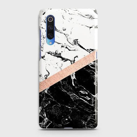 3D Black & White Marble With Chic RoseGold Strip Case For Xiaomi Mi 9