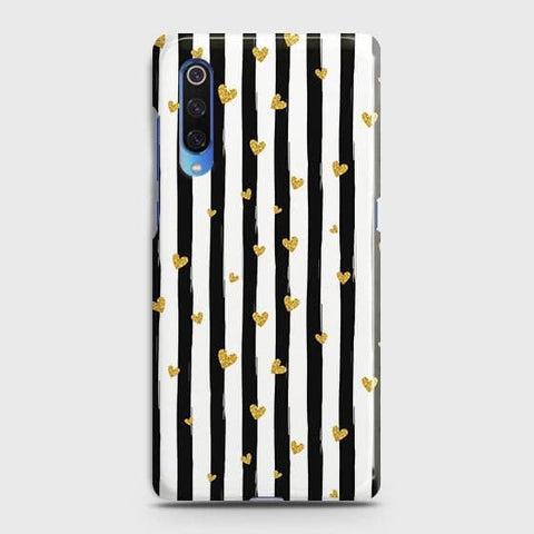 Trendy Black & White Strips With Golden Hearts Hard Case For Xiaomi Mi 9