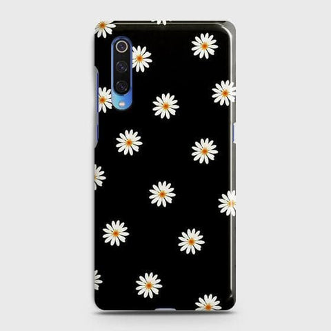 White Bloom Flowers with Black Background Case For Xiaomi Mi 9