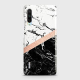 3D Black & White Marble With Chic RoseGold Strip Case For Xiaomi Mi A3