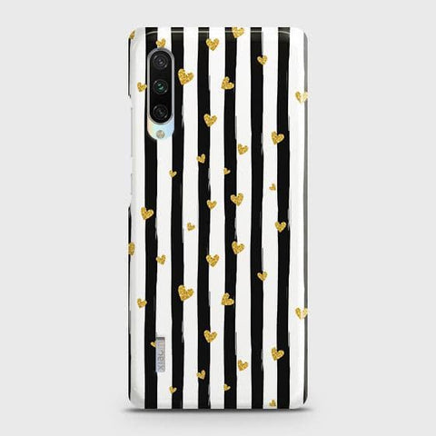 Trendy Black & White Strips With Golden Hearts Hard Case For Xiaomi Mi A3