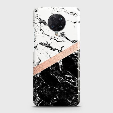 Xiaomi Poco F2 Pro Cover - Black & White Marble With Chic RoseGold Strip Case with Life Time Colors Guarantee