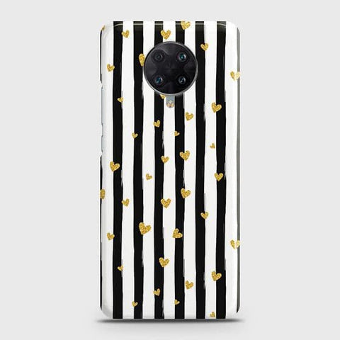 Xiaomi Poco F2 Pro Cover - Trendy Black & White Strips With Golden Hearts Printed Hard Case with Life Time Colors Guarantee