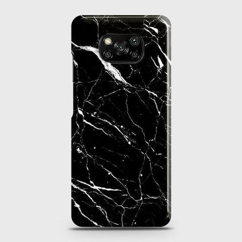 Xiaomi Poco X3 Cover - Trendy Black Marble Printed Hard Case with Life Time Colors Guarantee