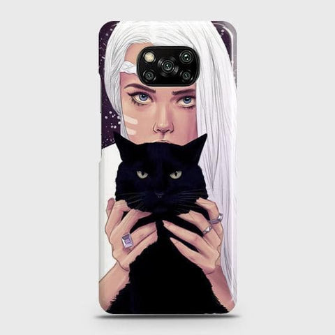Xiaomi Poco X3 Cover - Trendy Wild Black Cat Printed Hard Case with Life Time Colors Guarantee