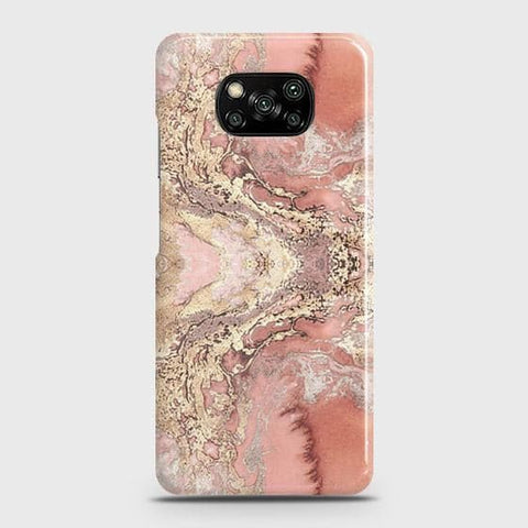 Xiaomi Poco X3 Cover - Trendy Chic Rose Gold Marble Printed Hard Case with Life Time Colors Guarantee