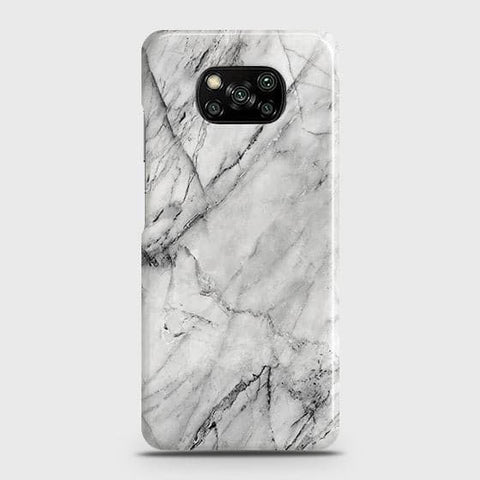 Xiaomi Poco X3 Cover - Trendy White Marble Printed Hard Case with Life Time Colors Guarantee