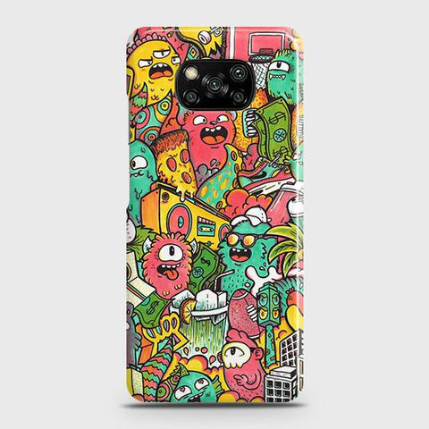 Xiaomi Poco X3 Cover - Candy Colors Trendy Sticker Bomb Printed Hard Case with Life Time Colors Guarantee
