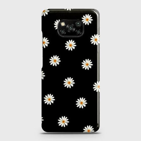 Xiaomi Poco X3 Cover - White Bloom Flowers with Black Background Printed Hard Case with Life Time Colors Guarantee