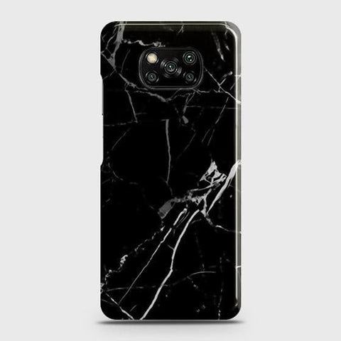 Xiaomi Poco X3 Cover - Black Modern Classic Marble Printed Hard Case with Life Time Colors Guarantee
