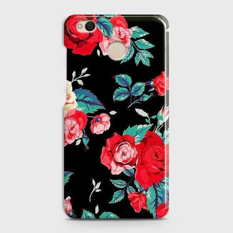 Luxury Vintage Red Flowers Case For Xiaomi Redmi 4 / 4X