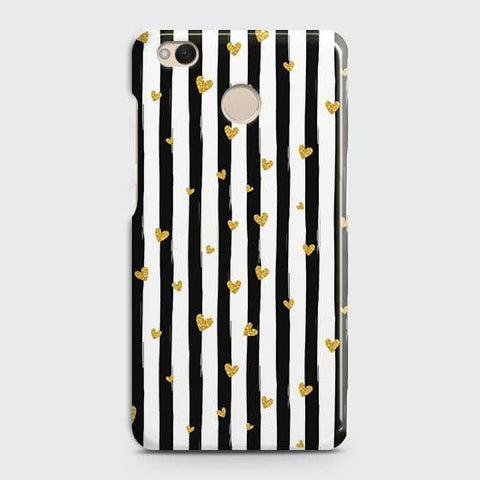 Trendy Black & White Strips With Golden Hearts Hard Case For Xiaomi Redmi 4 / 4X