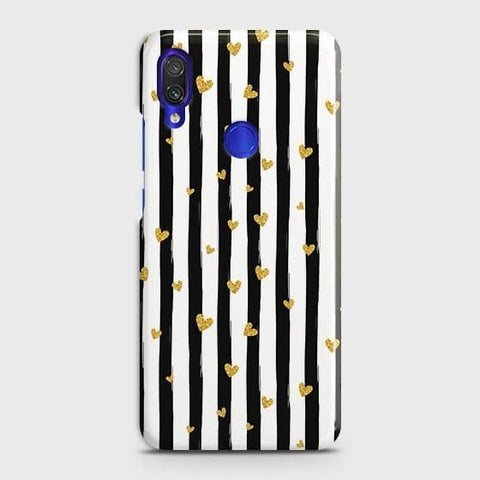 Xiaomi Redmi 7 Cover - Trendy Black & White Strips With Golden Hearts Printed Hard Case with Life Time Colors Guarantee
