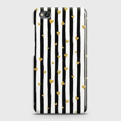 Trendy Black & White Strips With Golden Hearts Hard Case For Xiaomi Redmi Go