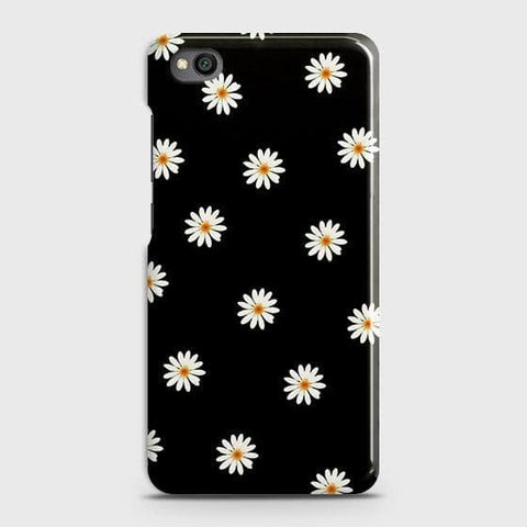 White Bloom Flowers with Black Background Case For Xiaomi Redmi Go