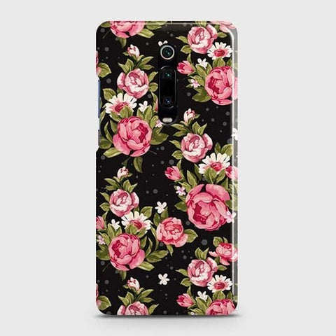 Xiaomi Redmi K20 Cover - Trendy Pink Rose Vintage Flowers Printed Hard Case with Life Time Colors Guarantee