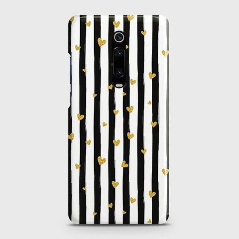 Trendy Black & White Strips With Golden Hearts Hard Case For Xiaomi Redmi K20