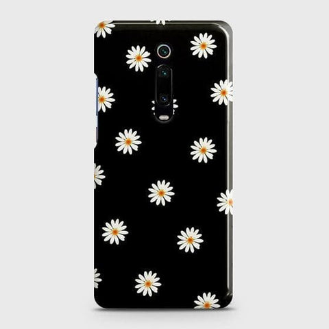 White Bloom Flowers with Black Background Case For Xiaomi Redmi K20