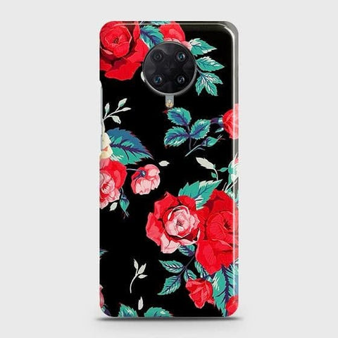 Xiaomi Redmi K30 Ultra Cover - Luxury Vintage Red Flowers Printed Hard Case with Life Time Colors Guarantee