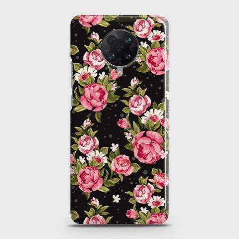 Xiaomi Redmi K30 Ultra Cover - Trendy Pink Rose Vintage Flowers Printed Hard Case with Life Time Colors Guarantee