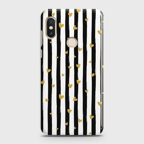 Trendy Black & White Strips With Golden Hearts Hard Case For Xiaomi Redmi Note 5 Pro