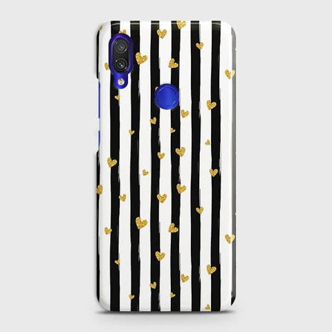 Xiaomi Redmi Note 7 Pro Cover - Trendy Black & White Strips With Golden Hearts Printed Hard Case with Life Time Colors Guarantee