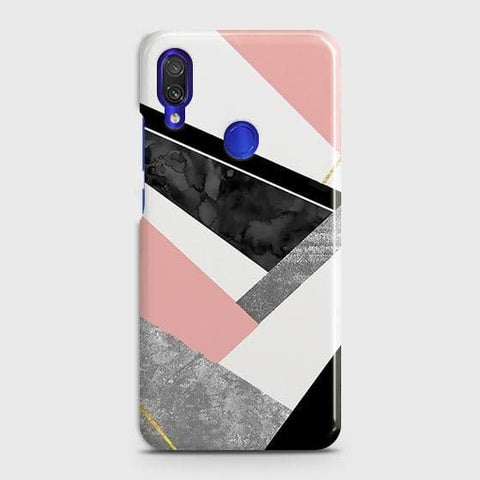 Xiaomi Redmi Note 7 Pro Cover - Geometric Luxe Marble Trendy Printed Hard Case with Life Time Colors Guarantee