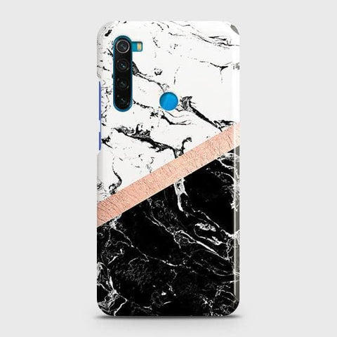 3D Black & White Marble With Chic RoseGold Strip Snap On Case For Xiaomi Redmi Note 8