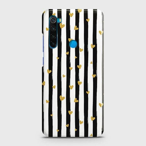 Trendy Black & White Strips With Golden Hearts Hard Snap On Case For Xiaomi Redmi Note 8