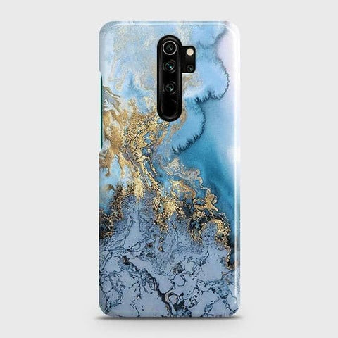 3D Trendy Golden & Blue Ocean Marble Snap On Case For Xiaomi Redmi Note 8 Pro