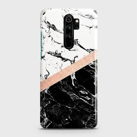 3D Black & White Marble With Chic RoseGold Strip Snap On Case For Xiaomi Redmi Note 8 Pro