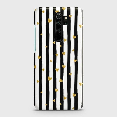 Trendy Black & White Strips With Golden Hearts Hard Snap On Case For Xiaomi Redmi Note 8 Pro