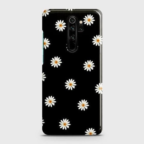 White Bloom Flowers with Black Background Snap On Case For Xiaomi Redmi Note 8 Pro