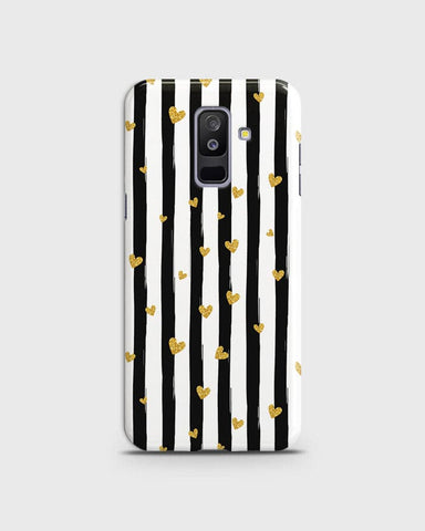 Samsung A6 Plus 2018 - Trendy Black & White Strips With Golden Hearts Printed Hard Case With Life Time Colors Guarantee