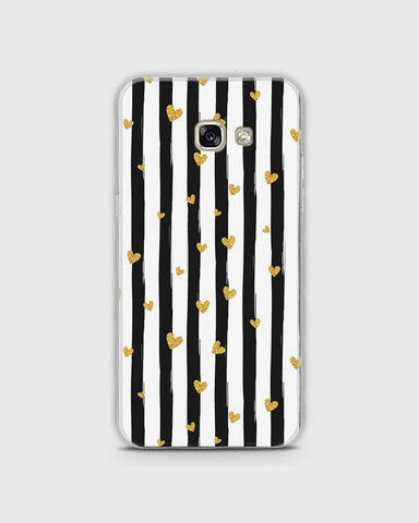 Samsung A7 2017 - Trendy Black & White Strips With Golden Hearts Printed Hard Case With Life Time Colors Guarantee