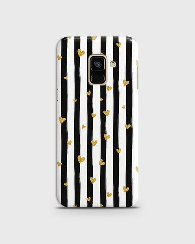Trendy Black & White Strips With Golden Hearts Hard Case For Samsung A8 2018