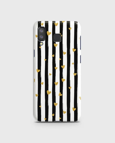 Trendy Black & White Strips With Golden Hearts Hard Case For Samsung A8 Star