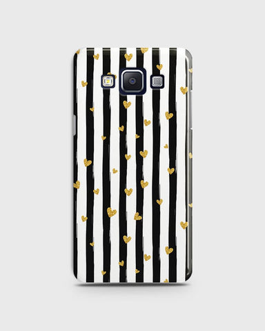 Trendy Black & White Strips With Golden Hearts Hard Case For Samsung Galaxy E5