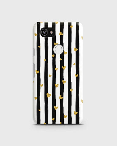 Trendy Black & White Strips With Golden Hearts Hard Case For Google Pixel 2 XL