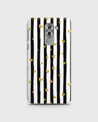 Trendy Black & White Strips With Golden Hearts Hard Case For Huawei Honor 6X