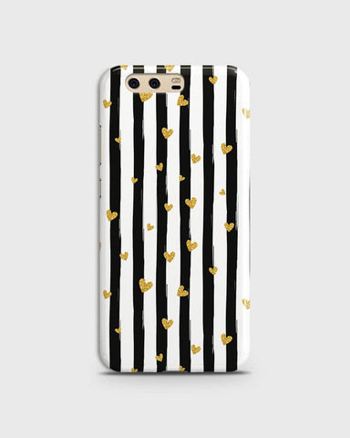 Trendy Black & White Strips With Golden Hearts Hard Case For Huawei P10