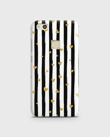 Trendy Black & White Strips With Golden Hearts Hard Case For Huawei P10 Lite